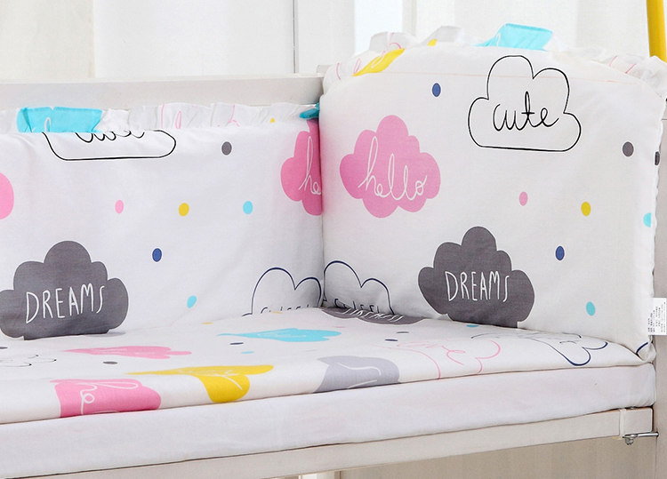 5PCS Cotton Comfortable Feeling Baby Bed Sets Baby Crib Bedding Sets Bed Bumpers Toddler Cot Bedding Set,include(4bumper+sheet) pink french toile fitted crib sheet for baby and toddler bedding sets by sweet jojo designs toile print