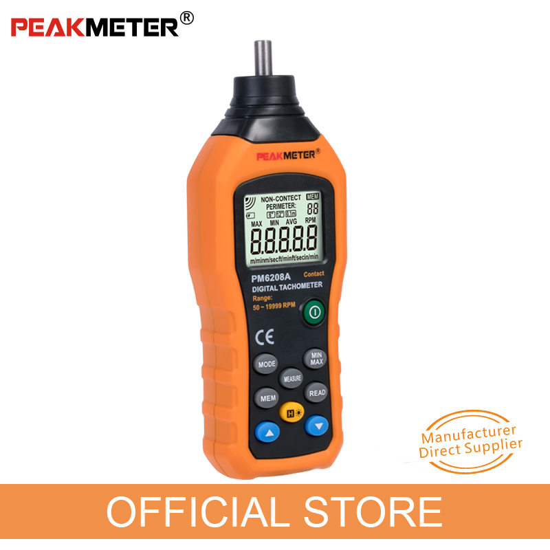 Official PEAKMETER PM6208A High Quality Contact type Digital Tachometer Meter High Performance 50 19999RPM max
