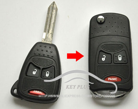 Modified Case Uncut Blade Flip Folding Key Shell For Chrysler PT Cruiser Dodge Nitro Caliber 2+1 3 Small Buttons