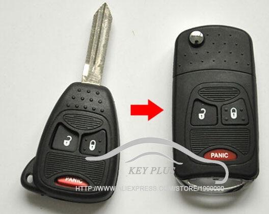 Modified Case Uncut Blade Flip Folding Key Shell For Chrysler PT Cruiser Dodge Nitro Caliber 2+1 3 Small Buttons