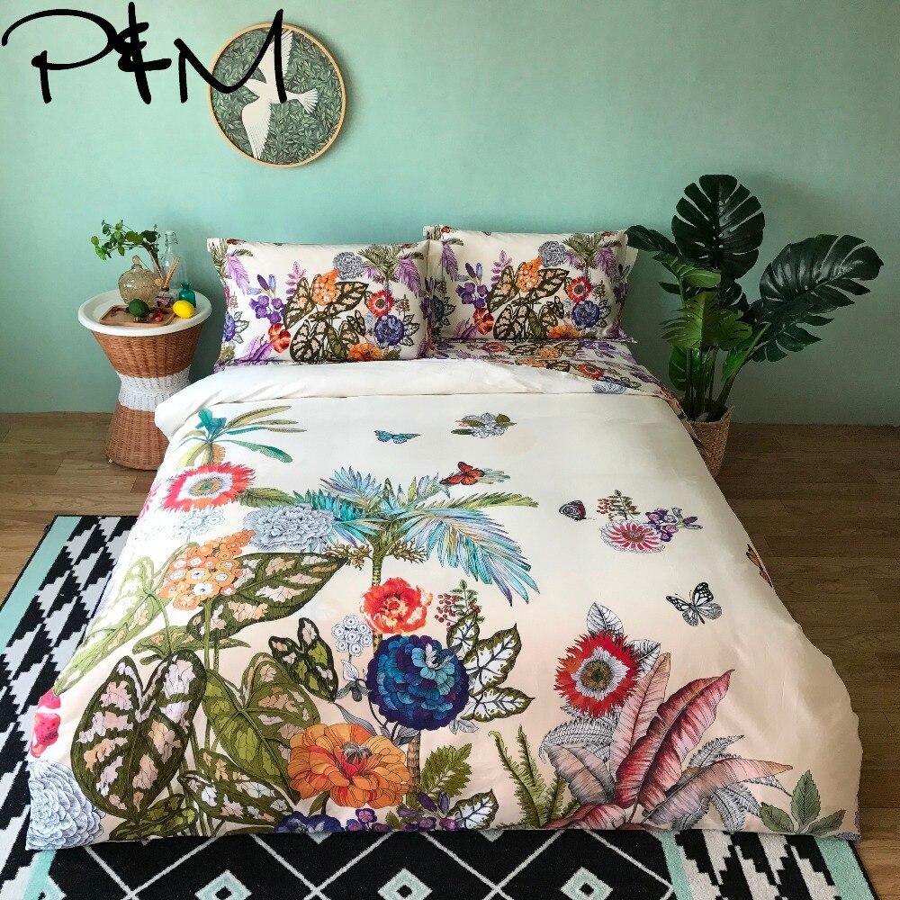 Papa Mima garden print Egyptian cotton bedlinens Queen King size bedding set duvet cover flat sheet