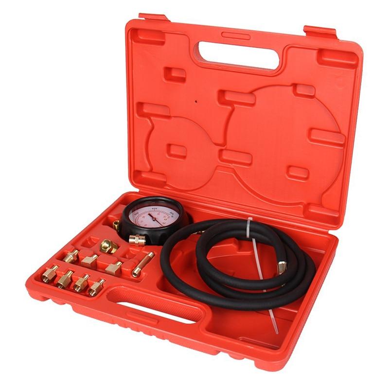 12pcs/set High Performance Automatic Transmission Engine Oil Pressure Cylinder Tester Gauge Diagnostic Test Kit 0-500psi Tu-11a
