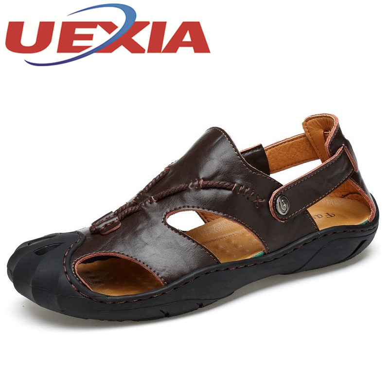 High Quality Men Sandals Outdoor Fashion Soft leather Sandals Shoes Flats Men Summer Casual Slippers Breathable Sandalias Hombre