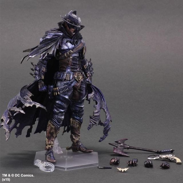 West Cowboy Batman Play Arts Kai Action Figure PVC Toys 270mm Anime Movie Model West Cowboy Bat Man Playarts Kai KB0614 gogues gallery two face batman figure batman play arts kai play art kai pvc action figure bat man bruce wayne 26cm doll toy