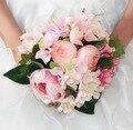 Горячая распродажа дешевые выросли свадебный букет ручной цветы искусственные пион бисером брошь невесты с цветами в руках свадебные букеты
