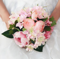 Hot Sale Cheap Rose Wedding Bouquet Handmade Flowers Artificial Peony Beaded Brooch Bride Holding Flowers Bridal Bouquets