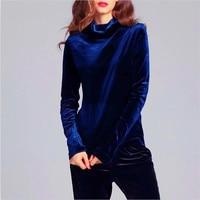 Fashion Long Sleeve Turtleneck Velvet Tops Women Shirts Solid Color Winter Velvet T Shirt Women Basic Shirt Plus Size M 6XL 7XL