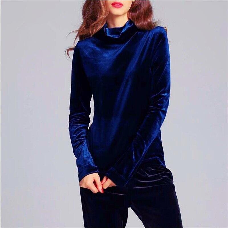 Mode À Manches Longues Col Roulé Velours Tops Femmes Chemises De Couleur Unie Hiver Velours T-Shirt Femme Basique Chemise Grande Taille M 6XL 7XL