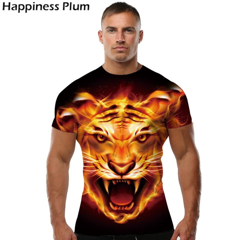 Flame Shirt Tiger T-shirt Anime T Shirt Animal 3d Print Tshirt Cool Slim Men Short Sleeves Mens Brand Clothing 2017 High Quality