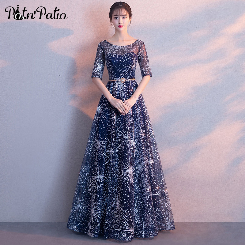 Shiny Glitters Ball Gown Evening Dresses Long 2018 Elegant O-neck With Half Sleeves Formal Evening Gown Plus Size