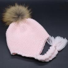 2016 New Unisex Soft Wool Blend Knitted Baby Hat blue pink white Colors Real Raccoon Fur Pom Pom Kids Cap Headwear Fur Ball