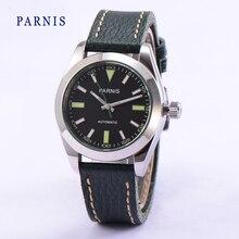 Высочайшее Качество 40 мм Parnis Повседневная Сапфировое стекло Черный Циферблат Зеленый Ремень Деловые Мужчины Автоматические Часы