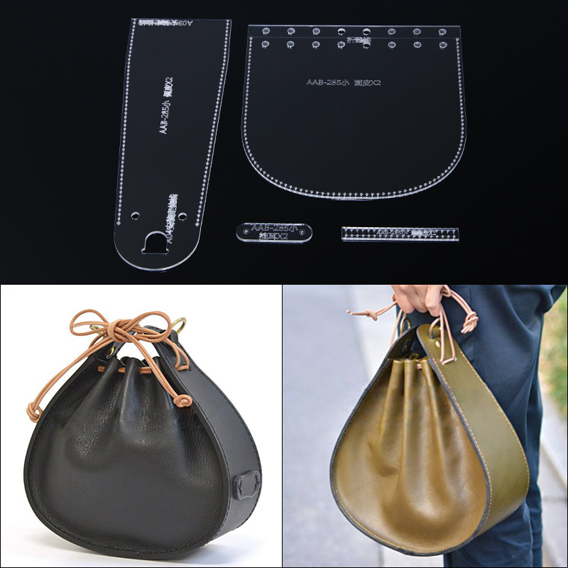 1set Acrylic Stencil Template DIY Leather Handmade Craft Women Handbag Shoulder Bag Sewing Pattern 19*16*8cm
