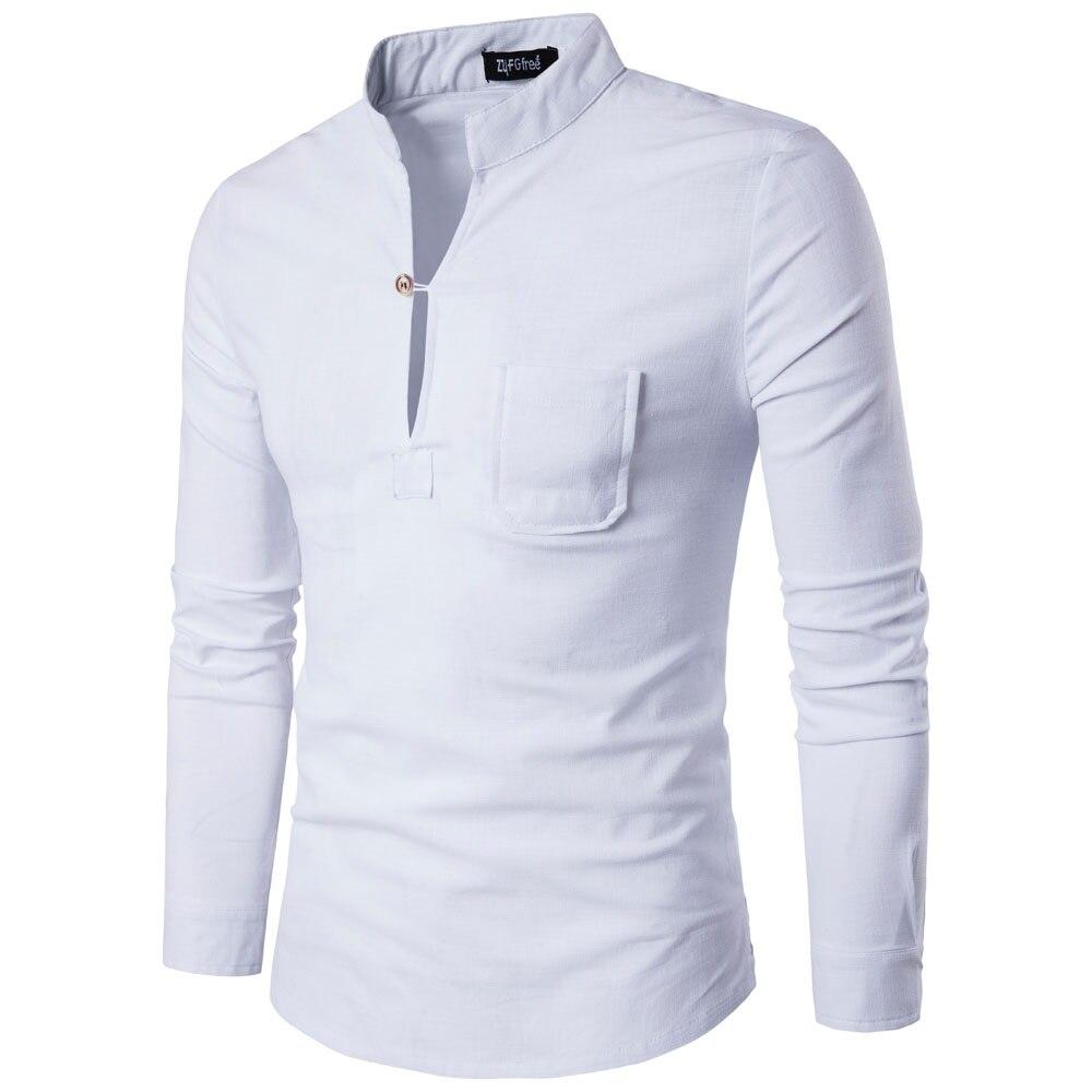 New Autumn Fashion Brand Men Colthes Slim Fit Men Long Sleeve Shirt White Linen Shirts Men Casual Business Shirts Asia Size