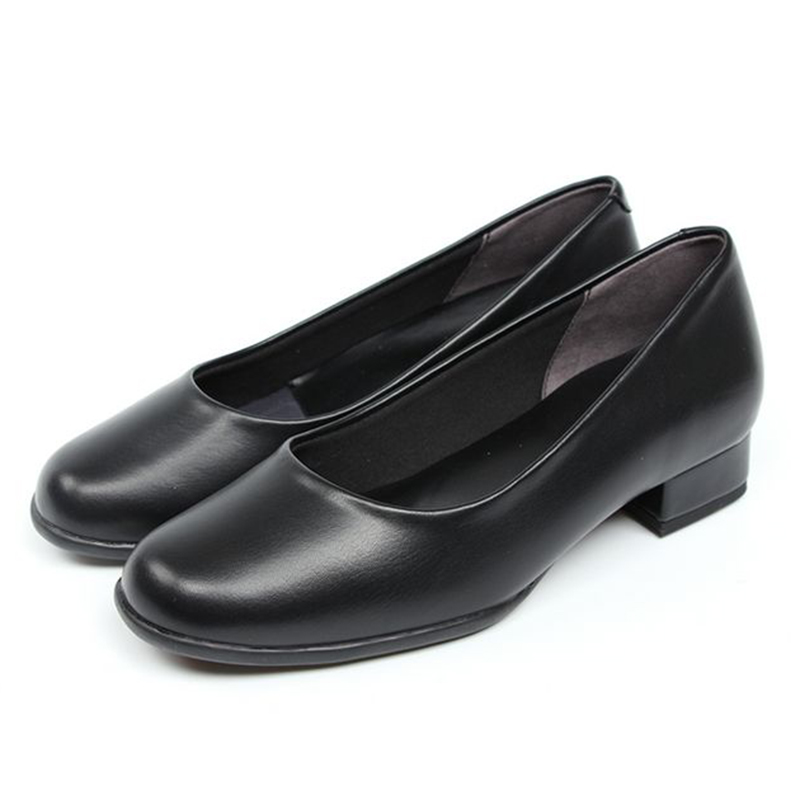 2937f5dea07a Low heel black leather shoes women working shoes round head soft sole and single  shoe catering shoes
