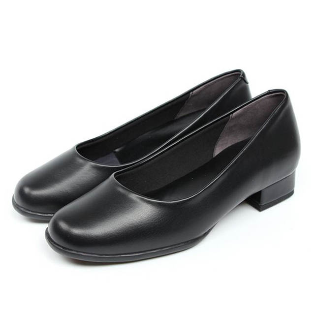 Online Shop Low heel black leather shoes women working shoes round head  soft sole and single shoe catering shoes  ae6f7ee2f