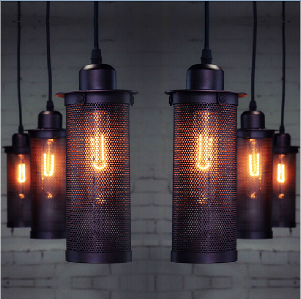 Edison cord hanging lamp Industrial Wind Vintage Cage pendant lights dinning room  Metal Iron Mesh Cylinder pendant lightingEdison cord hanging lamp Industrial Wind Vintage Cage pendant lights dinning room  Metal Iron Mesh Cylinder pendant lighting