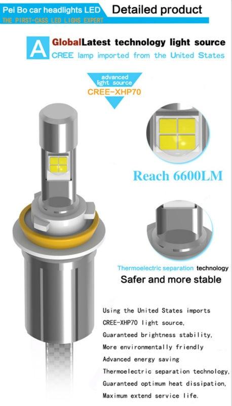 Ossen P70 H7 LED Car Headlight 55w 6600lm 5000k Xenon White Head light H4 H8 H9 H11 9005 HB3 H10 9006 HB4 9012 90047 Headlights 9
