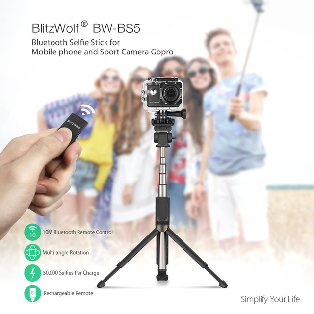 BlitzWolf Bluetooth Handheld Tripod Selfie Stick Extendable Monopod for Gopro 5 6 7 1/4′ Sports Camera For Huawei Smartphones