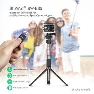 Image 2 - BlitzWolf bluetooth trépied tenu dans la main Selfie bâton extensible monopode pour Gopro 5 6 7 1/4 caméra de sport pour Huawei Smartphones