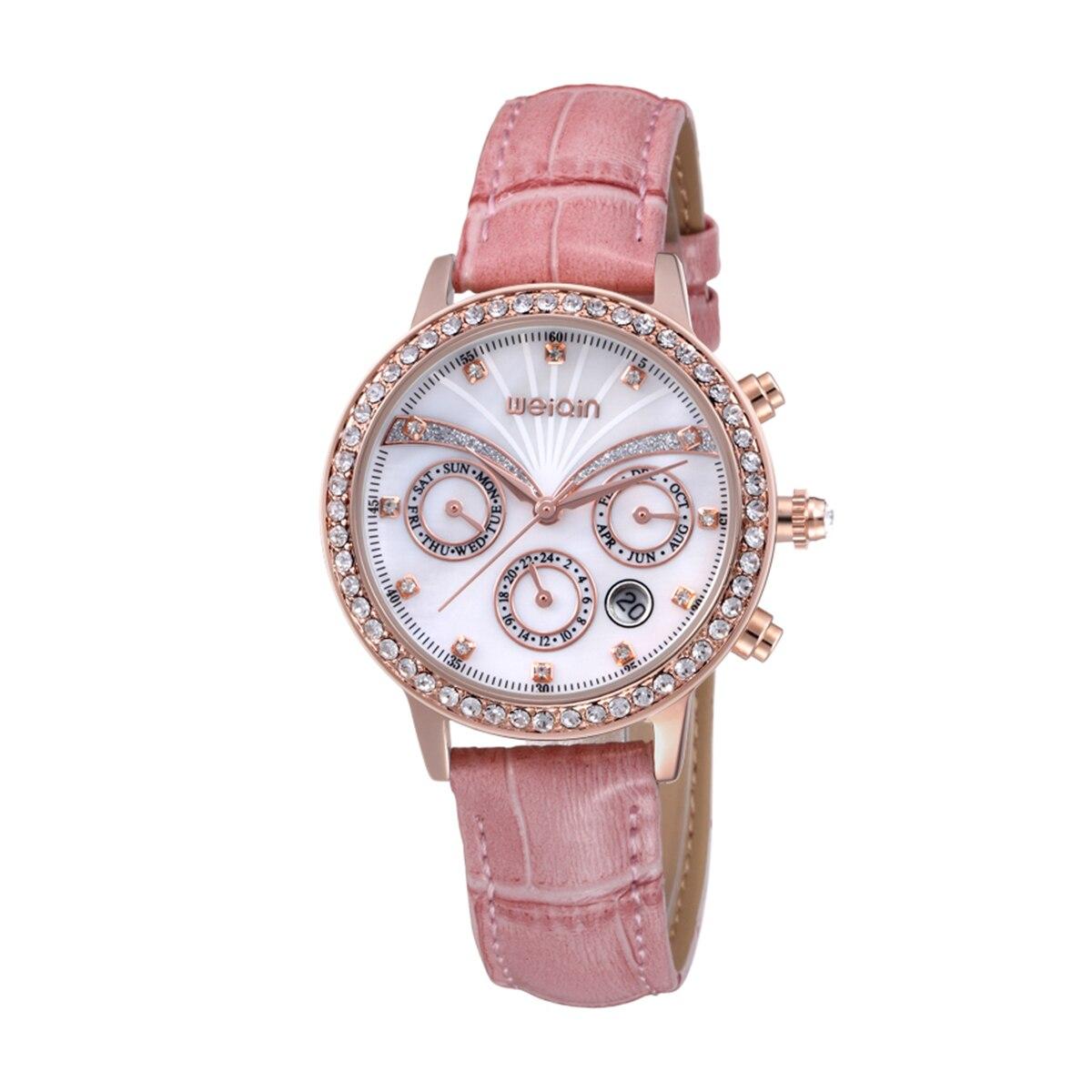 ФОТО WEIQIN Brand Military Chronograph 6 Hands 24 Hours Genuine Leather Women Watch