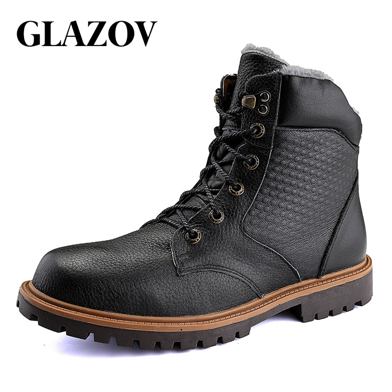 GLAZOV Men Winter Shoes Warm Comfortable Fashion Genuine Leather Martin Snow Boots Waterproof Boots Men's wool Plush Warm Boots elevator shoes taller 2 56 inch winter genuine leather men boots fashion warm wool ankle boots men snow boots shoes hot sale