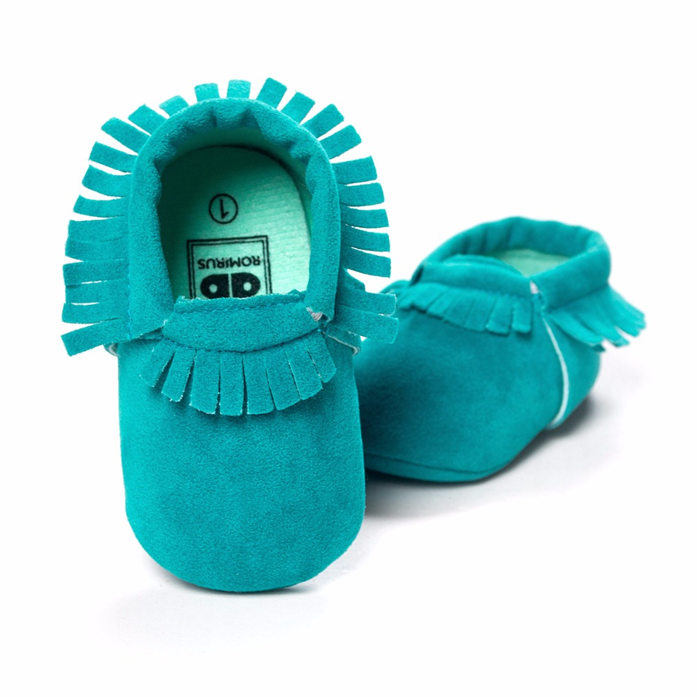Turquoise Baby Shoes Handmade Soft Anti-Slip Newborn First Walkers Bebe Moccasin
