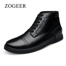 ZOGEER Big Size 38-48 Men Ankle Boots, Genuine Leather Black Mens Dress Boots, 2017 New Winter Man Formal Shoes