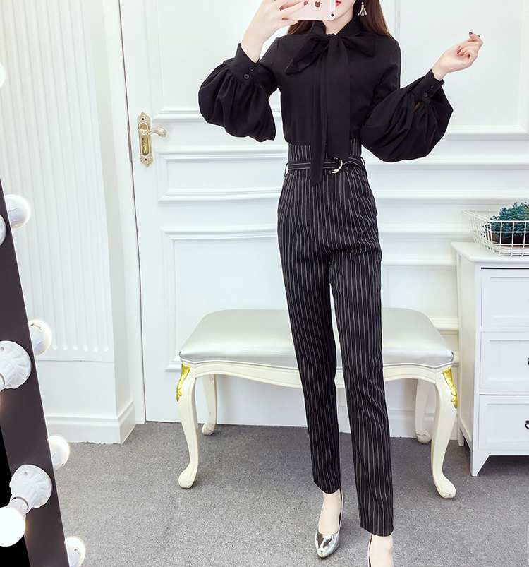 Women's 2018 Spring and Autumn new style chiffon blouse career wear stripes striped straight jeans Fashionable Set 14