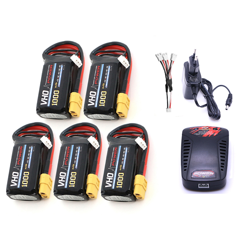 VHO 2s 5pcs 7.4V 1000mAh 2S 30C Lipo Battery Rechargeable Battery Pack JST Plug and EU charger for RC Car Truck Truggy RC Hobby b3 20w 2s 3s lipo battery compact easy balance charger for rc model us plug free shipping us eu plug