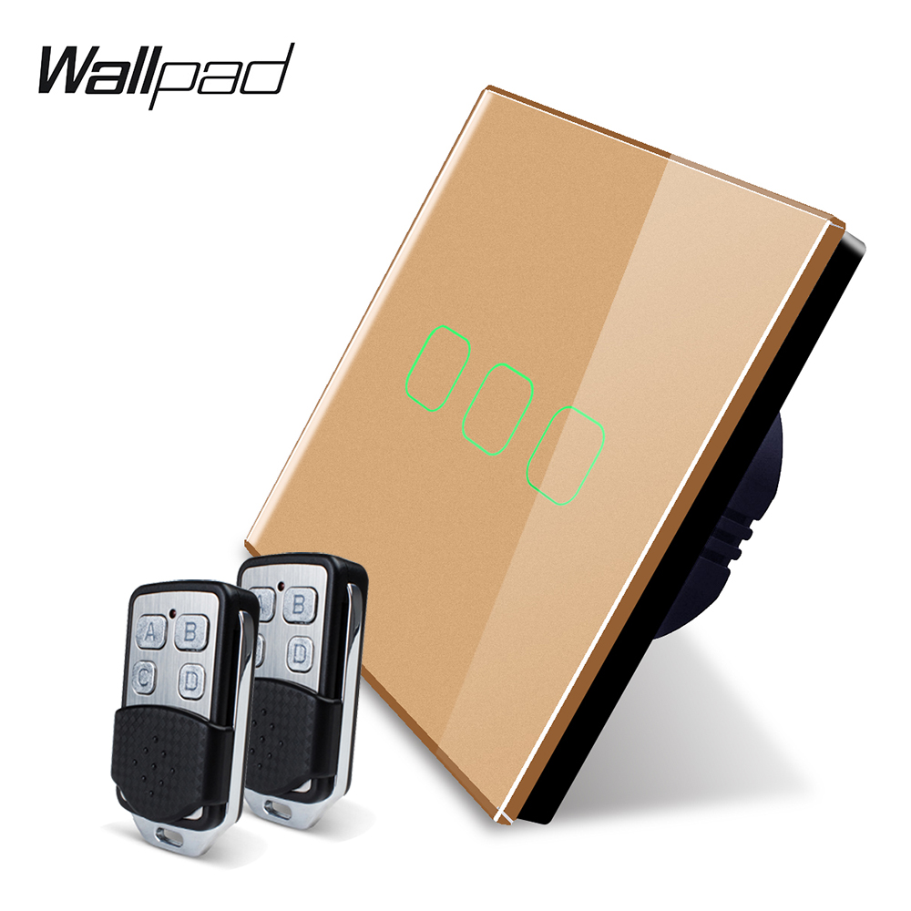 Image 3 - Wallpad K3 Capacitive Triple Dimmer Remote Touch Switch 3 Gang 4 Colors Tempered Glass Panel Wall Electrical Light Switch RF433-in Switches from Lights & Lighting