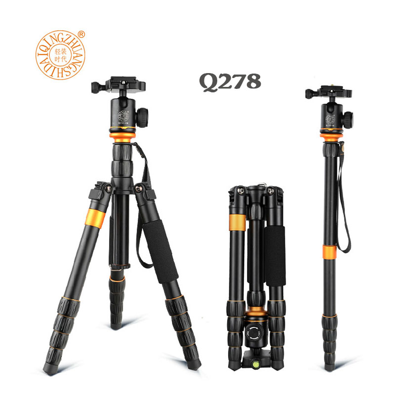 New QZSD Q278 Lightweight Compact Tripod Monopod & Professional Ball Head for Canon Nikon DSLR Camera / Portable Camera Stand dhl free 2017 new professional tripod qzsd q999 aluminium alloy camera video tripod monopod for canon nikon sony dslr cameras