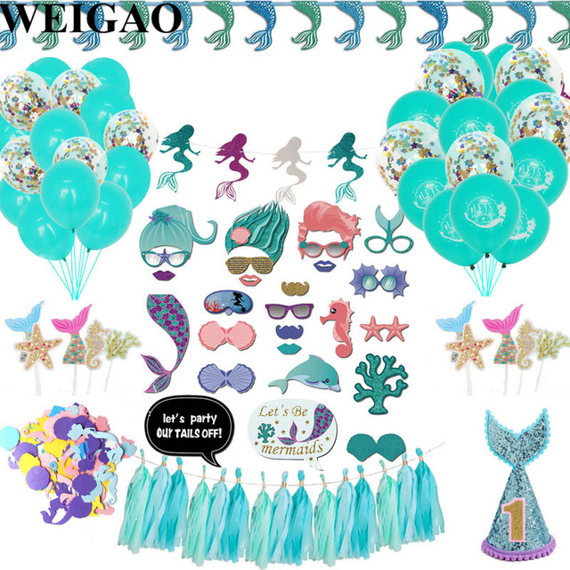 Weigao 1set Glitter Mermaid Garland Bunting Banner Baby Shower 1st