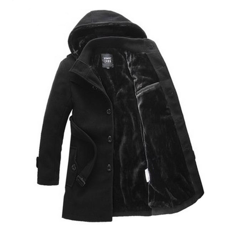 The thick winter lapel big yards men s windbreaker removable cap single breasted coat of cultivate