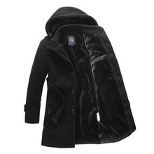 The thick winter lapel, big yards men's windbreaker, removable cap single-breasted coat of cultivate one's morality/decoration