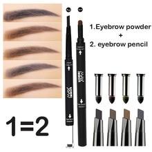 1pcs Natural Double-end Black Brown Eyebrow Powder+ Eyebrow Pencils Dual-use Waterproof Eye Brow Make Up Cosmetics