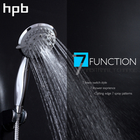 HPB Seven Functions Bathroom Handheld Shower ABS Chrome Finish Water Saving High Pressure Shower Head Round Hand Shower HP7106