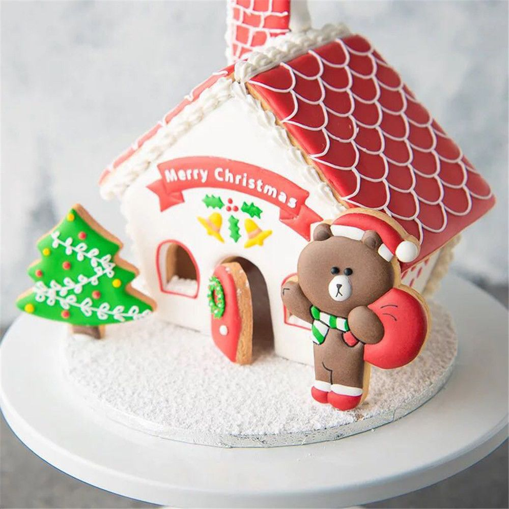 Us 2 6 10 Off 8x Christmas House Tree Cake Royal Icing Cookies Plastic Fondant Cake Mold Diy In Cake Molds From Home Garden On Aliexpress Com