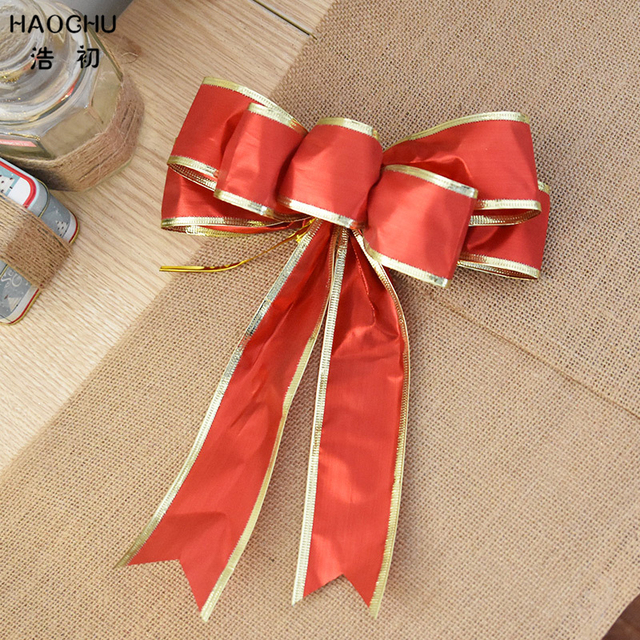 haochu 4pcs big red ribbon bow gold edge christmas tree ornament wedding party decoration diy gift - How To Make A Big Christmas Bow
