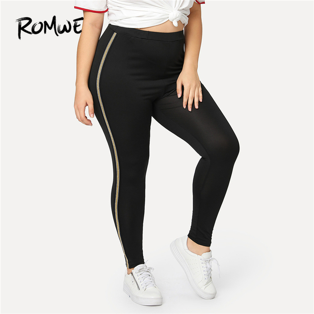 Romwe Sport Plus Size Black Ringer Side Women Yoga Tights 2018 New Autumn  Solid Polyester Fitness Leggings Female Running Pants fb96571e1643