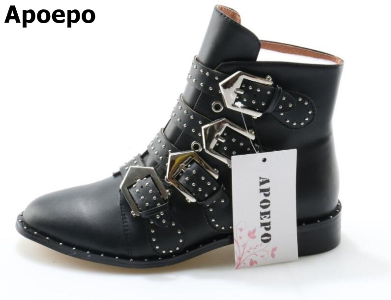 Newest Women Buckle Ankle Boots Pointed Toe Rivet Punk Boots Serpentine Black Shoes Big Size odetina new fashion women metal buckle ankle boots pointed toe gothic punk style motorcycle boots winter shoes black big size 48
