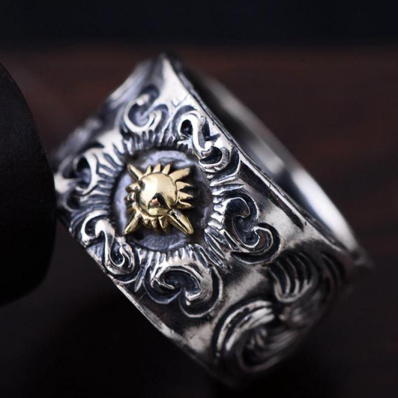 Guaranteed 925 Sterling Silver Jewelry Solar Deity Rings For Men Vintage Flower Pattern Engraved Biker Rings Cool Fashion a suit of vintage engraved rivet rings