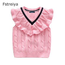 Baby girl clothes winter sweater vest toddler girls tiny cottons waistcoats kids ribbed knitted spring 2019