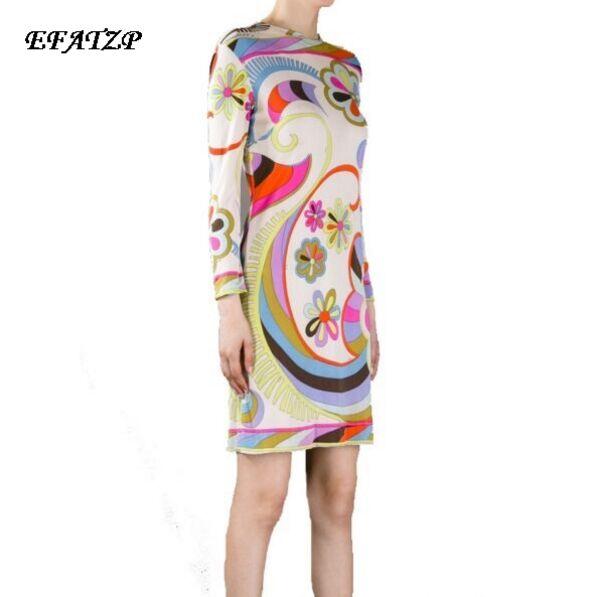 European Brands Designer Dress Women s 2017 Cute Floral Charming Print Stretch Jersey Silk Dress Casual