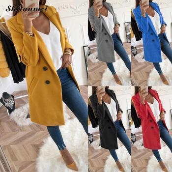 2018 New Women Long Sleeve Turn-Down Collar Outwear Jacket Wool Blend Coat Casual Autumn Winter Elegant Overcoat Loose Plus Size 1