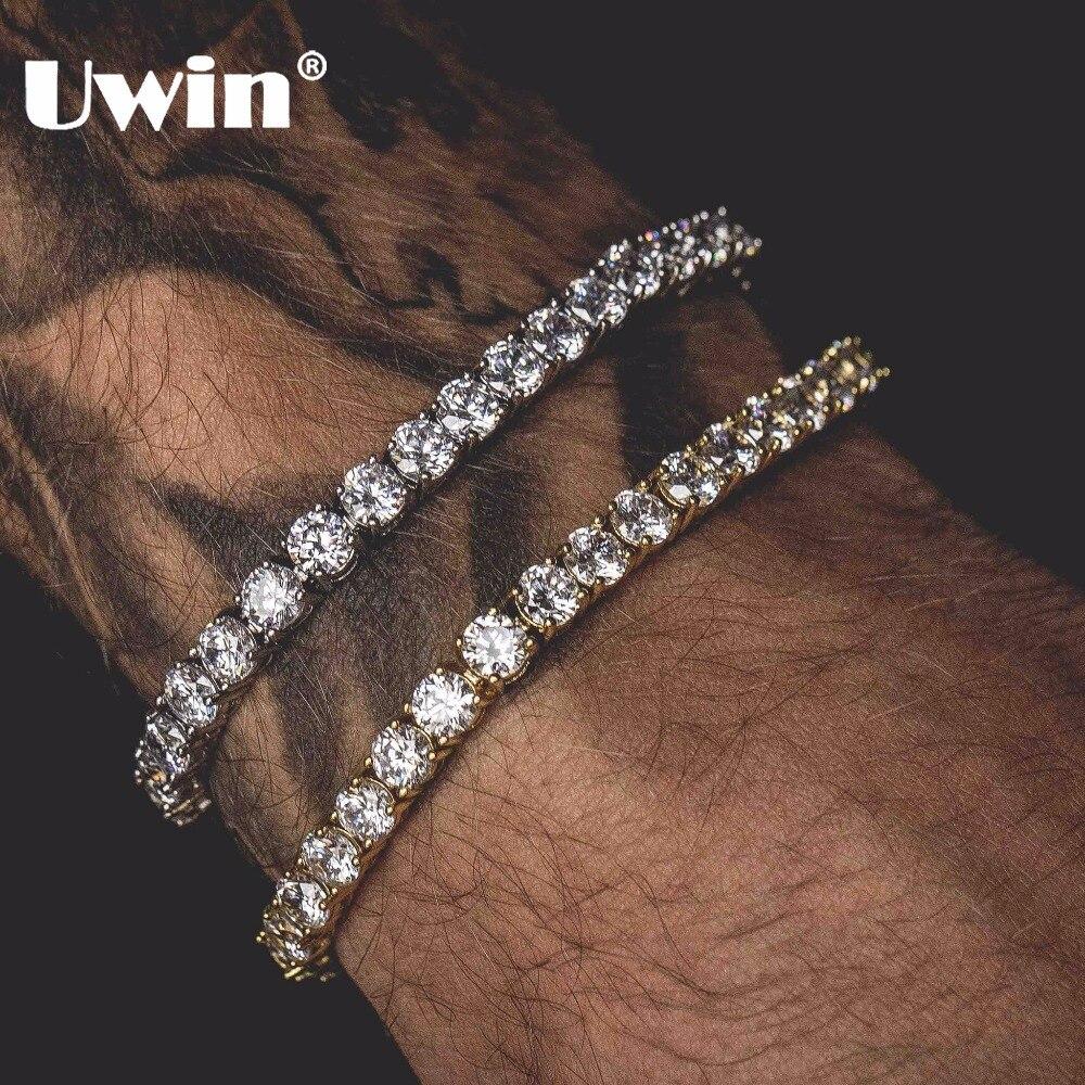 Pulsera de tenis Uwin corte redondo 5mm Zirconia Triple cerradura Hiphop joyería 1 Fila cúbica lujo cristal CZ hombres moda pulseras
