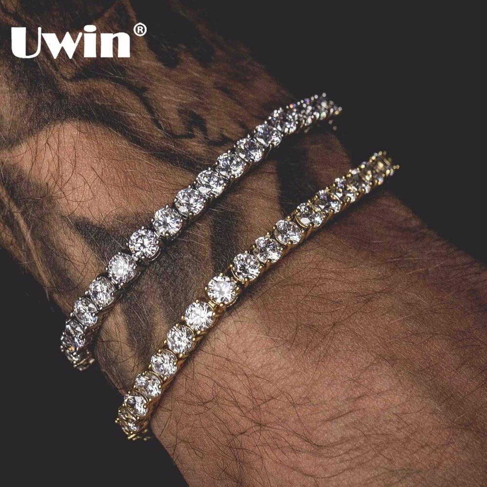 Uwin corte redondo tenis pulsera 5mm Zirconia Triple bloqueo Hiphop joyería 1 Fila cúbicos Cristal de lujo CZ hombres moda pulseras del encanto