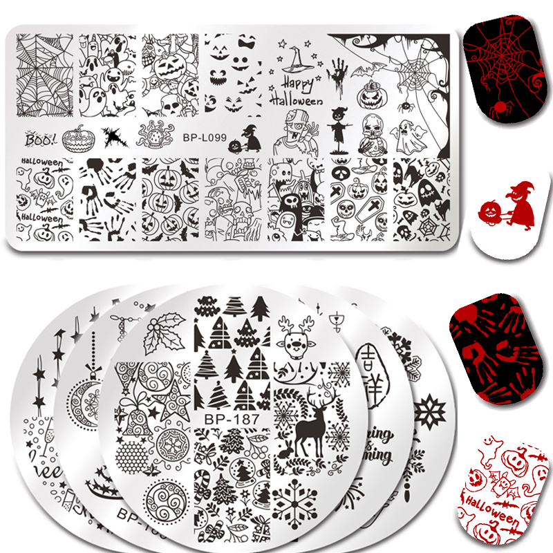 BORN PRETTY Stamping Plate Round Rectangle Halloween Pumpkin Ghost Castle Manicure Nail Art Image Plate Christmas