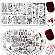 BORN PRETTY Stamping Plate Round Rectangle Halloween Pumpkin Ghost Castle Manicure Nail Art Image Plate Christmas Tree Bell Deer