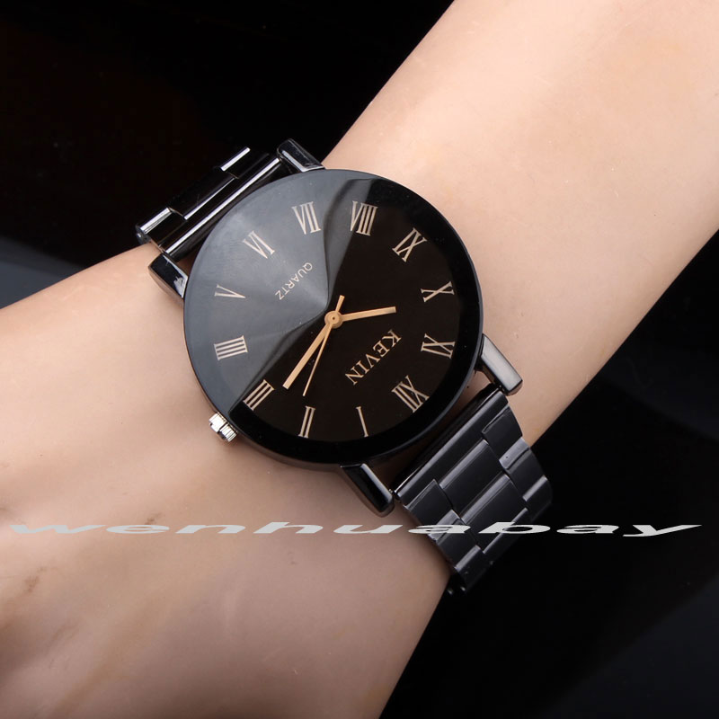 New Design Men Watches Fashion Black Round Roman Dial Stainless Steel Band Quartz Wrist Watch Mens Gifts relogios feminino ...